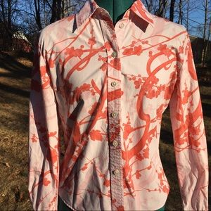 CLUB MONACO Fitted Floral Cherry Blossom Shirt